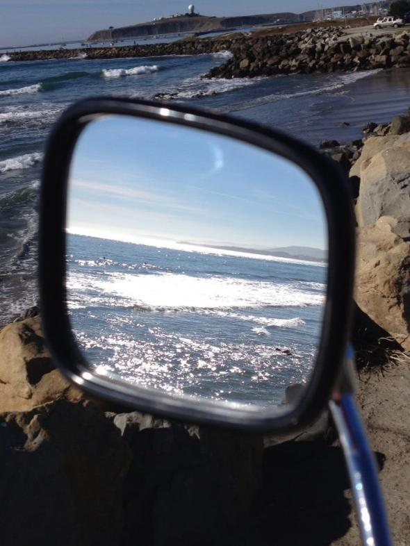 beach reflected in my bike mirror